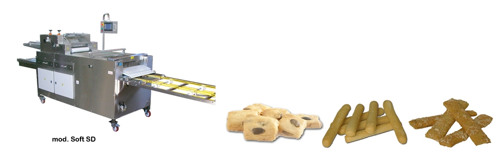 Machines breadsticks, grissini and snack for soft dough